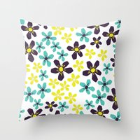 Yellow and Blue Flower Throw Pillow