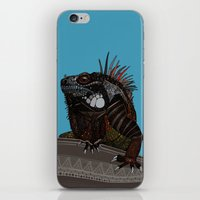 iguana blue iPhone & iPod Skin