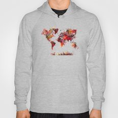 World Map Red Flowers Hoody
