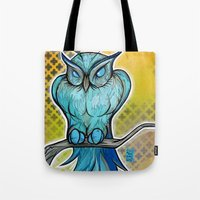 Tote Bag featuring Blue Owl by Tom Ryan's Studio
