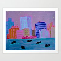 Harbour Monsters Art Print