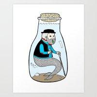 A Merman In Captivity Pa… Art Print