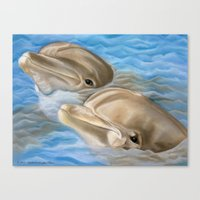 Dolphins In Pastel Canvas Print