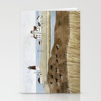 Seashore lighthouse and wild horses Stationery Cards