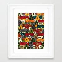 Small Mosaic Village Framed Art Print
