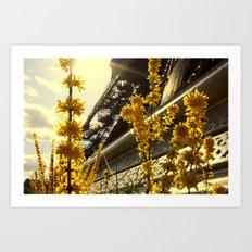 Flowers of the Eiffel Tower Art Print