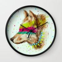 Cherokee Wolf II Wall Clock
