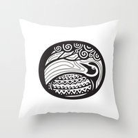 Golden Plover Looking Up Tree Oval Tribal Art Throw Pillow