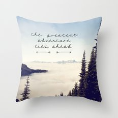the greatest adventure- mountains Throw Pillow
