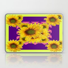 Colorful Chartreuse-Purple Sunflowers Pattern Art Laptop & iPad Skin