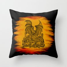 Zombie with Dragon on the Cemetery black and yellow Throw Pillow