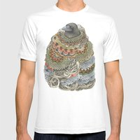 Quilted Forest: The Crow Mens Fitted Tee White SMALL