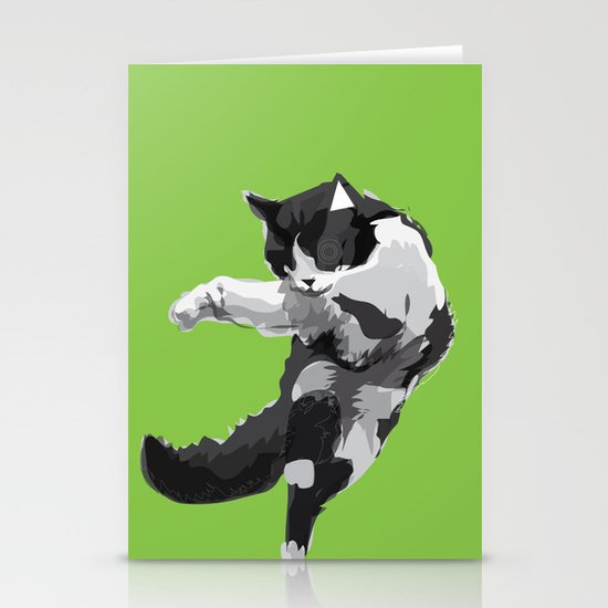 Dancing Cat Stationery Card