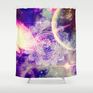 Space Mandala Purple Shower Curtain