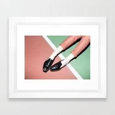 Legs on tennis court Framed Art Print
