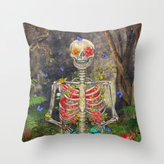 Blooming skeleton in the dark forest  with butterflies Throw Pillow