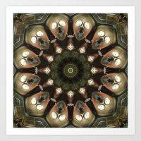Rusty Alien Head Mandala Art Print