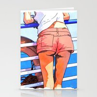 a girl on the boat Stationery Cards