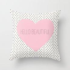 Hello Beautiful Heart - Rose Pink Throw Pillow