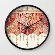 Royal Red Art Deco Doubl… Wall Clock