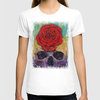 Skull Rose Womens Fitted Tee White SMALL