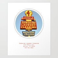 Sunshine Laundry Cleaning Poster Art Print