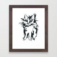 a threatening cat Framed Art Print