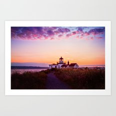 Discovery Park Lighthouse at sunset Art Print