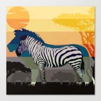 Sunset in Savanna Canvas Print