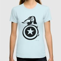 Captain Girl America Womens Fitted Tee Light Blue SMALL