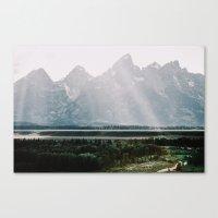 Afternoon Sun Over Teton Mountains Canvas Print