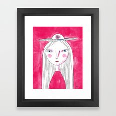 Hat Girl Framed Art Print