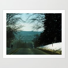 Amish Man Walking Home Art Print