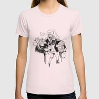 Paris Riots Womens Fitted Tee Light Pink SMALL