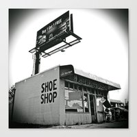 Canvas Print featuring Shoe shop by Vorona Photography