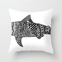 Doodle Shark Throw Pillow