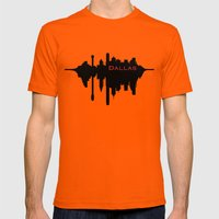 Dallas City Skyline Mens Fitted Tee Orange SMALL