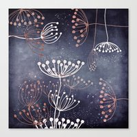 WONDERGARDEN ROSEGOLD BLUE Canvas Print