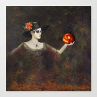 Lady Of The Pumpkins - H… Canvas Print