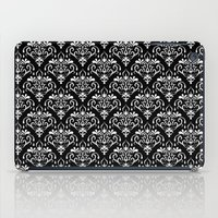 damask pattern back and white iPad Case
