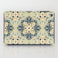 Protea Pattern in Deep Teal, Cream, Sage Green & Yellow Ochre  iPad Case