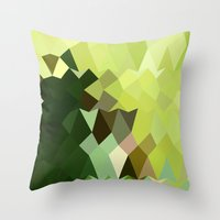 Apple Green Abstract Low Polygon Background Throw Pillow