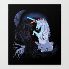 Starwars with unicorns (black) Canvas Print