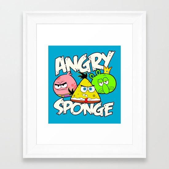 Angry Spongebird - Angry Birds vs SpongeBob Framed Art Print