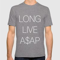 asap rocky Mens Fitted Tee Tri-Grey SMALL