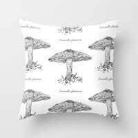 Limacella Glioderma // Hand Drawn Fungi Series Throw Pillow