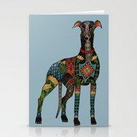 greyhound azure blue Stationery Cards