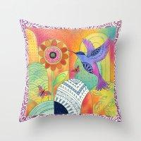 Indigo Hummingbird Throw Pillow