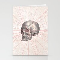 Abstract Gray Vintage Skull Modern Pink Stripes Stationery Cards