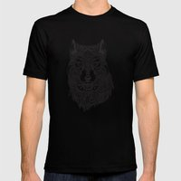 Abstract Wolf Mens Fitted Tee Black SMALL